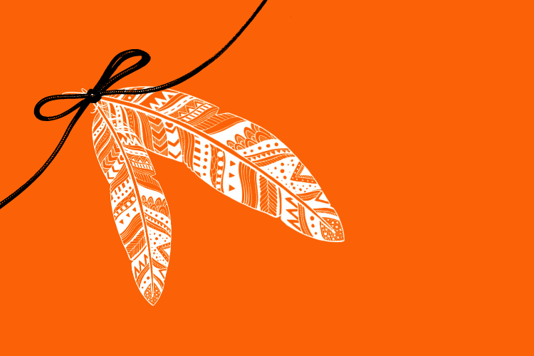 Two white, decorative eagle feathers tied with a black ribbon on an orange background